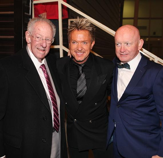 Former Mayor Oscar Goodman with Zowie Bowie and President of Fremont Street Patrick Hughes in Las Vegas
