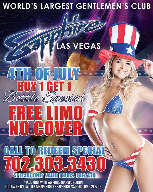Celebrate Independence Day at Sapphire Las Vegas, the World's Largest Gentlemen's Club