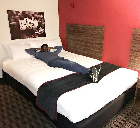 George Bell's hotel room with 12-foot bed at the D Casino Hotel