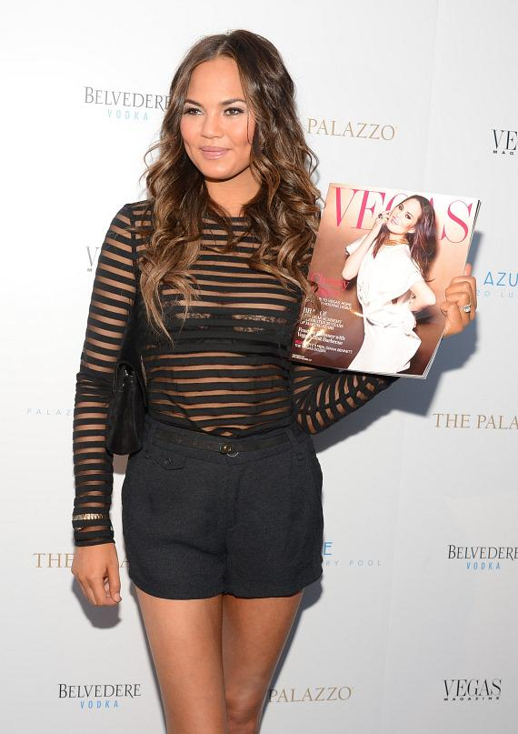 Chrissy Teigen with her cover photo on Vegas Magazine