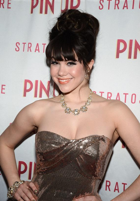 Claire Sinclair on red carpet for PIN UP at The Stratosphere Casino Hotel & Tower in Las Vegas