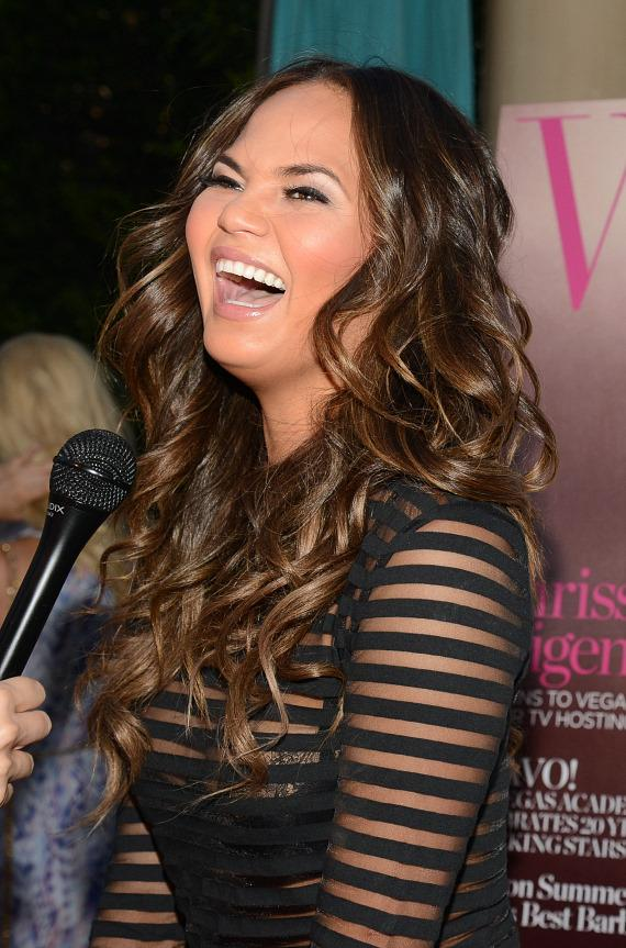 Chrissy Teigen being interviewed at The Palazzo Las Vegas