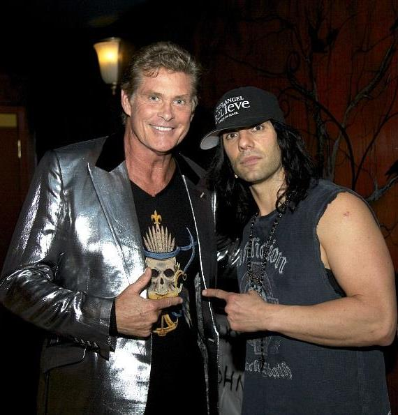 David Hasselhoff chats with Magician of the Century Criss Angel at CRISS ANGEL Believe at the Luxor Hotel & Casino