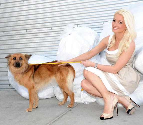 Holly Madison with a dog at The Animal Foundation