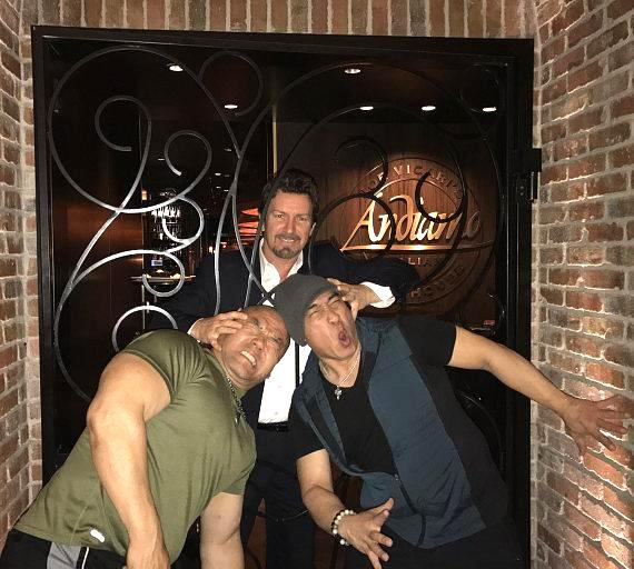 Hollywood Actors Ron Yuan and Woon Young Park with The D Executive Richard Wilk at Andiamo Italian Steakhouse Las Vegas