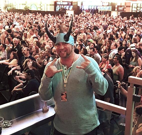 Horny Mike watches Smash Mouth concert from the D Casino Owner's Box on Fremont Street in Las Vegas