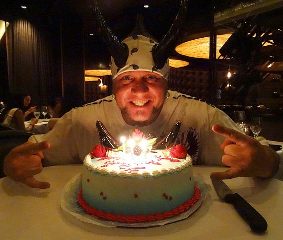 """Horny Mike of """"Counting Cars"""" with birthday cake at Andiamo Italian Steakhouse"""