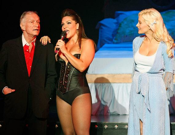 Hugh Hefner, Shoshana Bean and Holly Madison