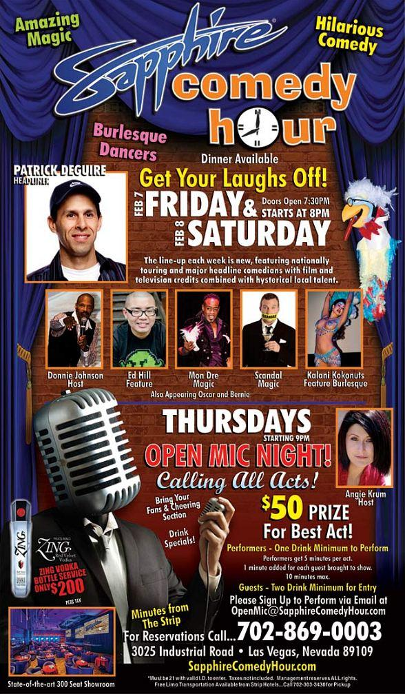 Patrick DeGuire to Headline Sapphire Comedy Hour at Sapphire Las Vegas Friday, Feb. 7 and Saturday, Feb. 8