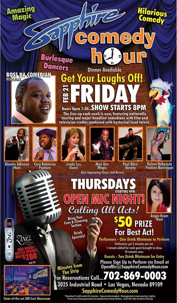 Boss Da Comedian to Headline Sapphire Comedy Hour at Sapphire Las Vegas Friday, Feb. 21