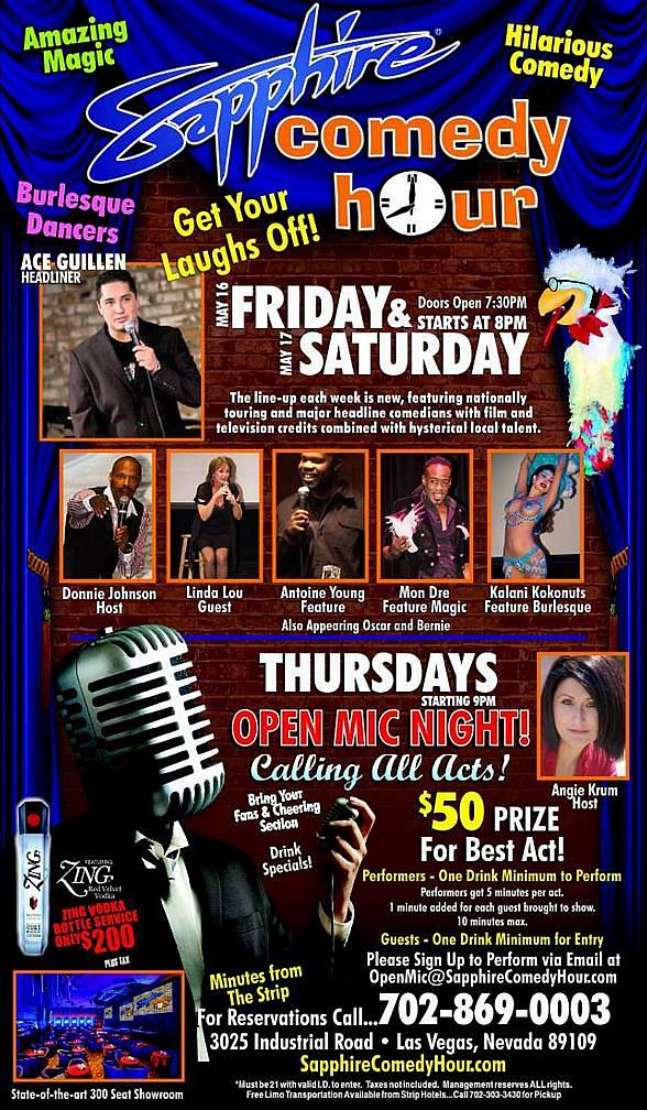 Ace Guillen to Headline Sapphire Comedy Hour at Sapphire Las Vegas on Friday, May 16 and Saturday, May 17