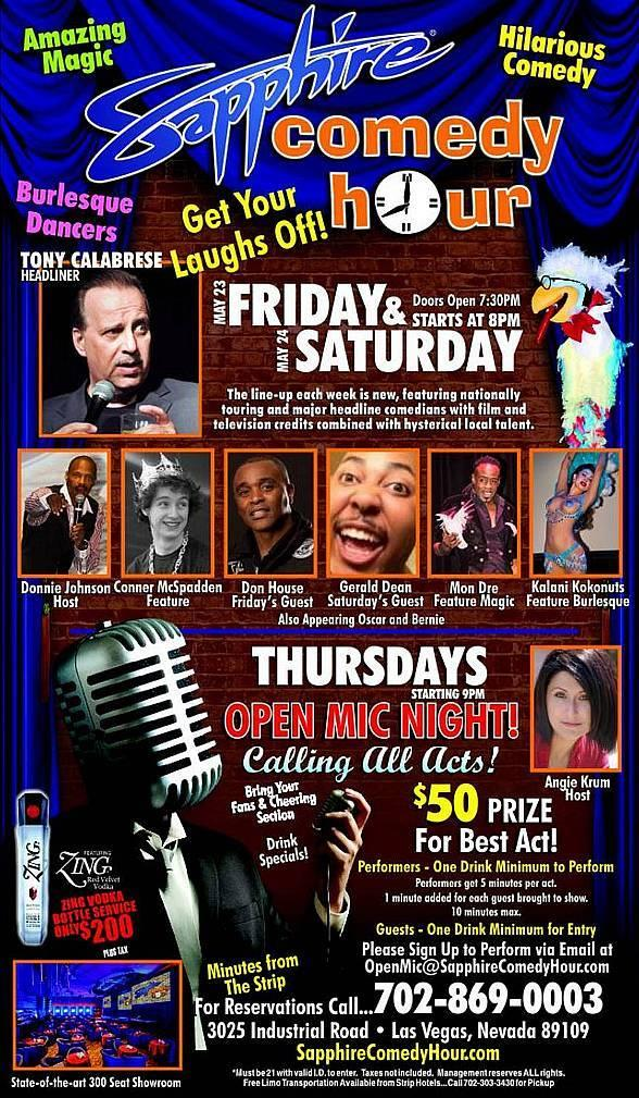 Tony Calabrese to Headline Sapphire Comedy Hour at Sapphire Las Vegas on Friday, May 23 and Saturday, May 24
