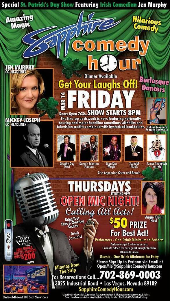 Jen Murphy and Mickey Joseph to Headline Sapphire Comedy Hour at Sapphire Las Vegas Friday, March 14