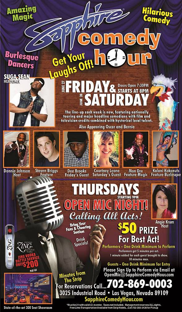 Suga Sean to Headline Sapphire Comedy Hour at Sapphire Las Vegas on Friday, June 27 and Saturday, June 28