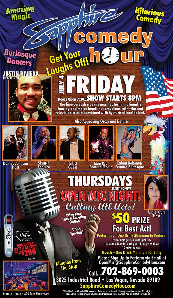 Justin Riviera to Headline Sapphire Comedy Hour at Sapphire Las Vegas on Friday, July 4