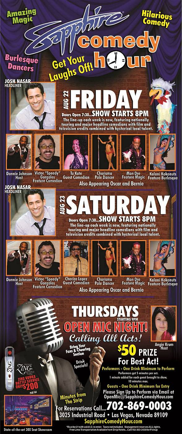 Josh Nasar to Headline Sapphire Comedy Hour on Friday, Aug 22 and Saturday, Aug 23
