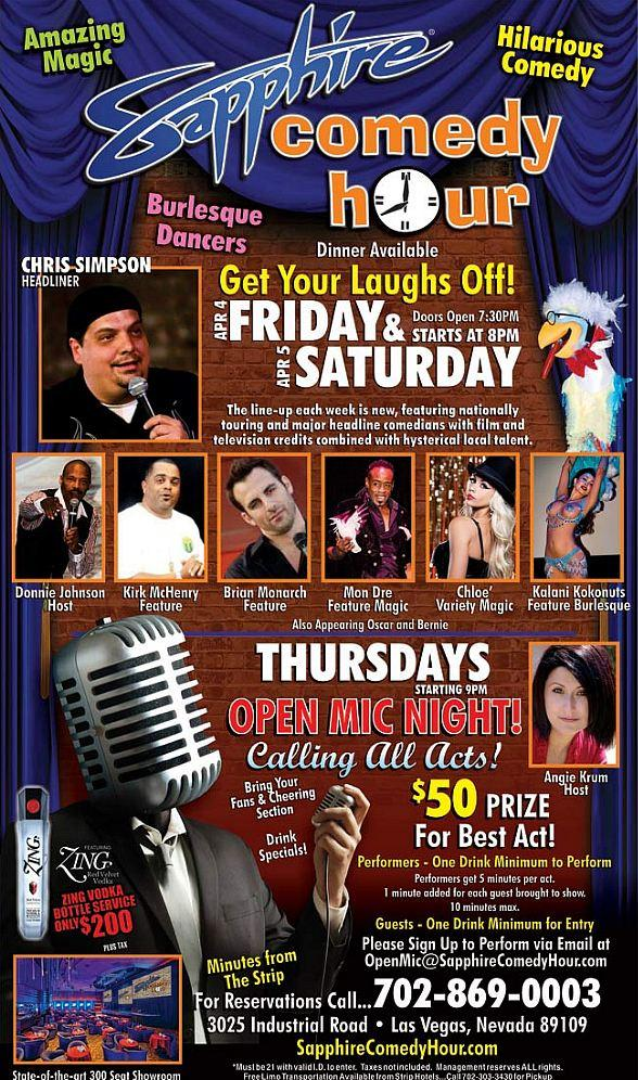 Chris Simpson to Headline Sapphire Comedy Hour at Sapphire Las Vegas Friday, Apr. 4 and Saturday, Apr. 5