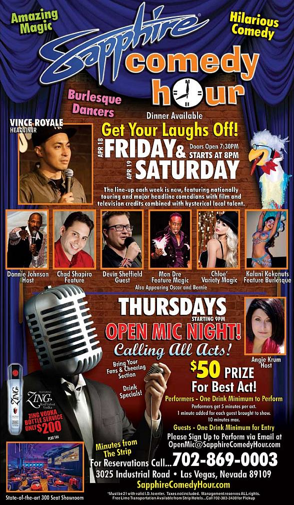 Vince Royale to Headline Sapphire Comedy Hour at Sapphire Las Vegas Friday, Apr. 18 and Saturday, Apr. 19
