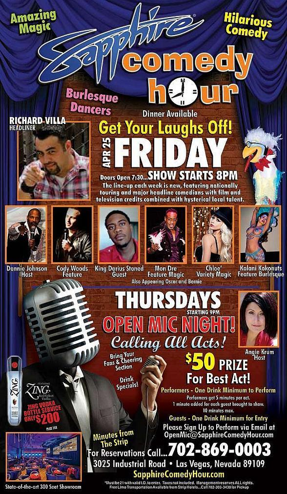 Richard Villa to Headline Sapphire Comedy Hour at Sapphire Las Vegas Friday, April 25