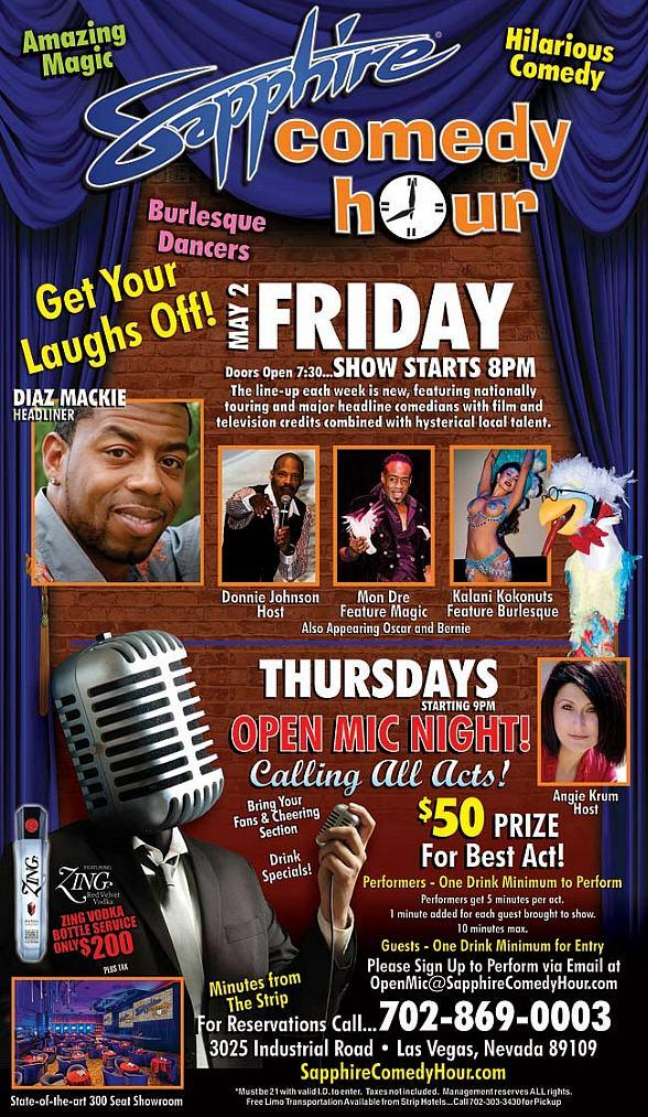 Diaz Mackie to Headline Sapphire Comedy Hour at Sapphire Las Vegas on Friday, May 2