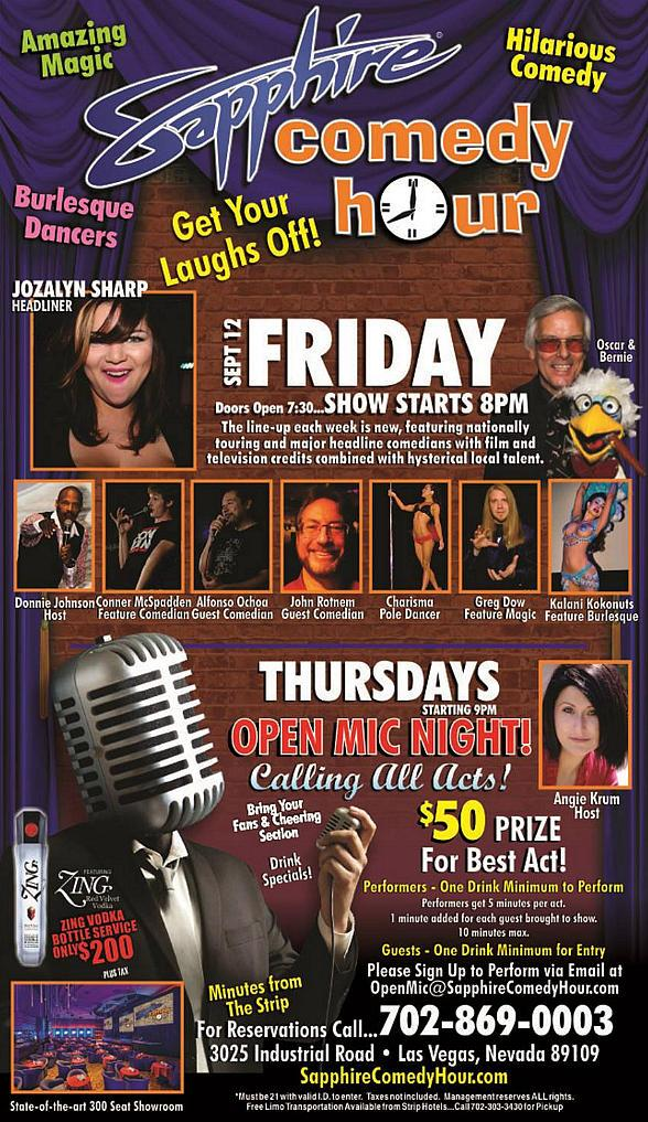 Jozalyn Sharp to Headline Sapphire Comedy Hour on Friday, Sept 12
