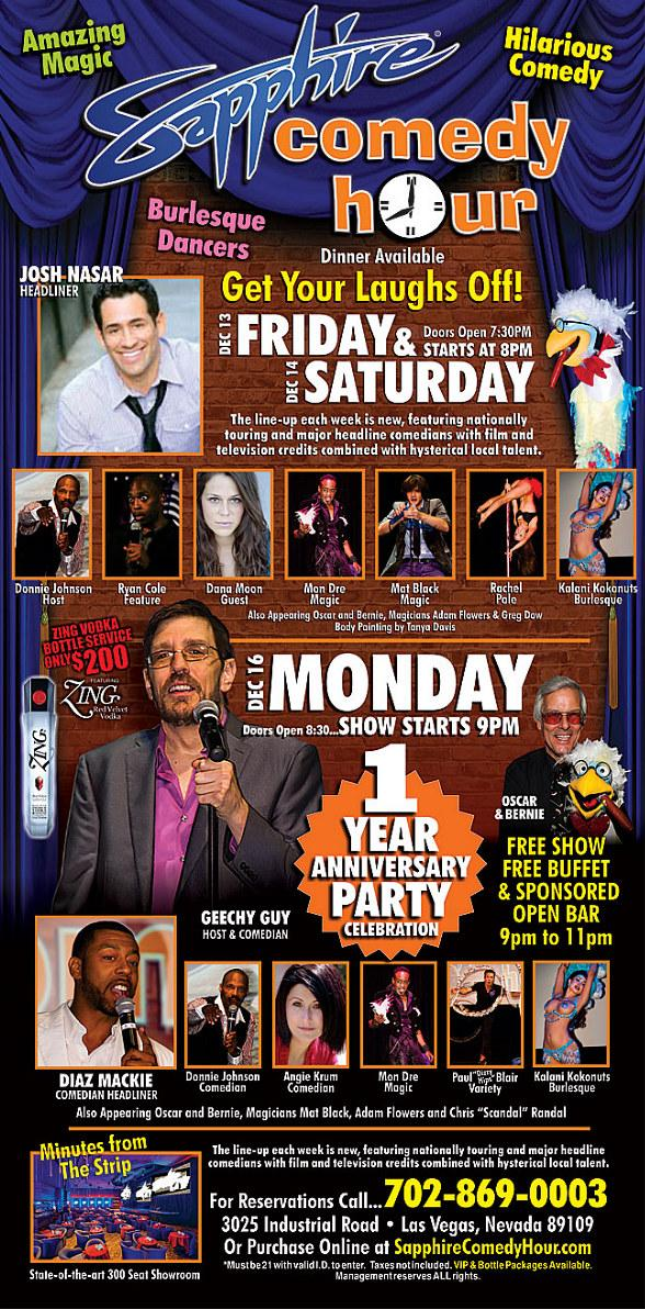 Josh Nasar to Headline Sapphire Comedy Hour at Sapphire Las Vegas Friday, Dec. 13 and Saturday, Dec. 14