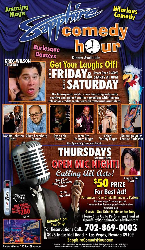 Greg Wilson to Headline Sapphire Comedy Hour at Sapphire Las Vegas Friday, Apr. 11 and Saturday, Apr. 12