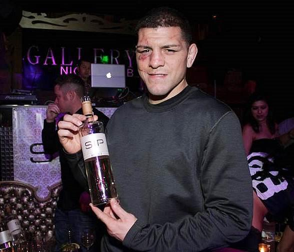 Nick Diaz poses with SIP Moscato at Gallery Nightclub in Las Vegas