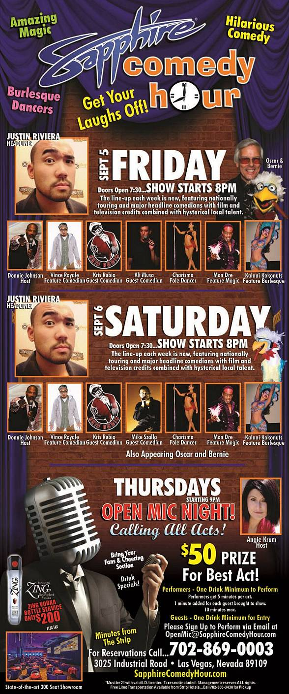 Justin Rivera to Headline Sapphire Comedy Hour on Friday, Sept 5 and Saturday, Sept 6