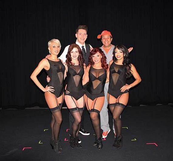 Mark Bennick with Douglas 'Lefty' Leferovich and dancers at Muckleshoot Casino