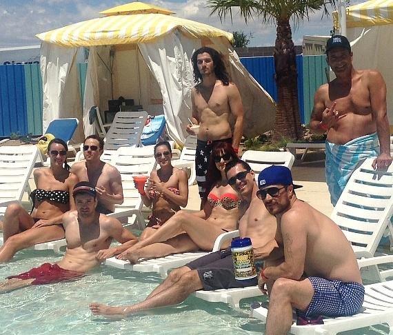 Lisa Marie of PIN UP and Paul Johnson of Rock of Ages with cast members of Rock of Ages.
