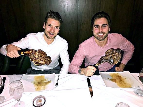Vegas Golden Knights Alex Tuch and Shea Theodore Dine at Andiamo Italian Steakhouse