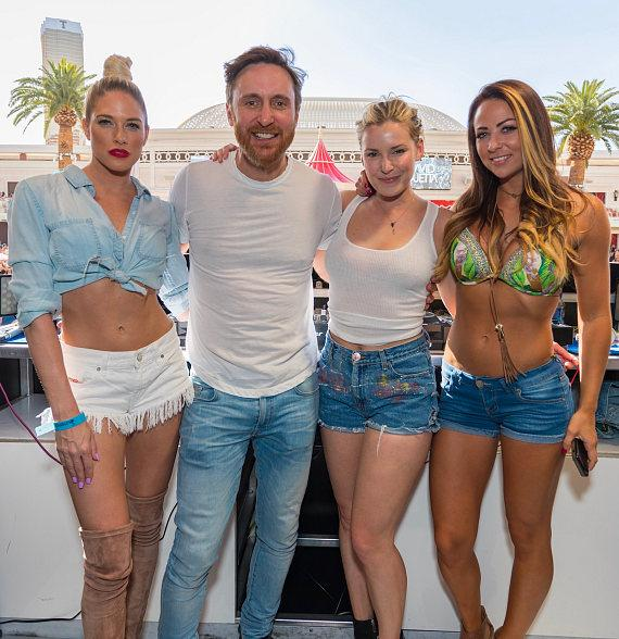 Barbie Blank, David Guetta, Renee Young and Emma at Encore Beach Club in Wynn Las Vegas