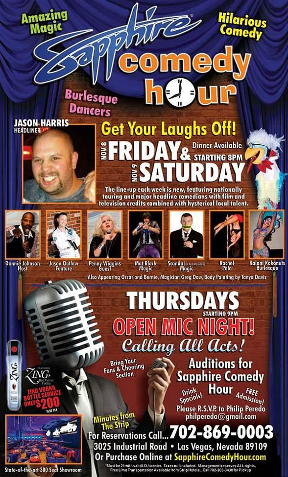 Jason Harris to Headline Sapphire Comedy Hour at Sapphire Las Vegas Friday, Nov. 8 and Saturday, Nov. 9