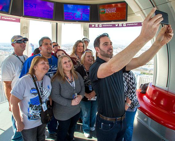 Jimmie Johnson takes a selfie on the High Roller at The LINQ in Las Vegas