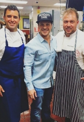 Mark Shunock, Chef Carla Pellegrino, Antonio Nunez and Scott Commings at McDonald's Chef Battle
