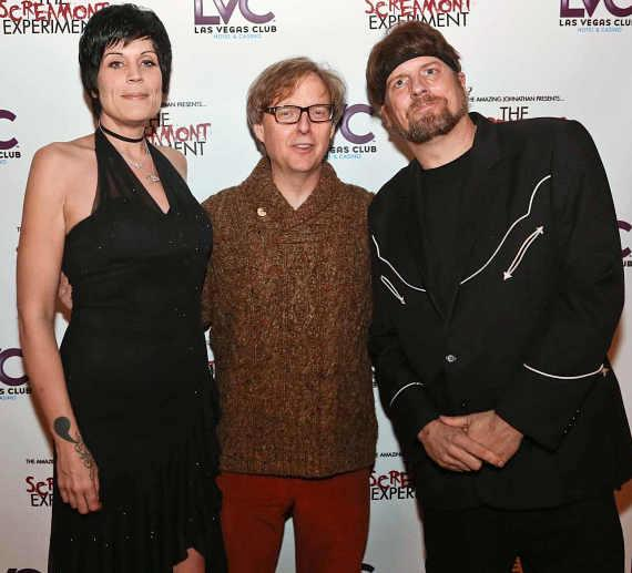Amazing Johnathan (r), girlfriend and manager Anastasia Synn, and comedy magician Mac King (c)