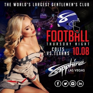 Sapphire to host Indianapolis Colts vs. Houston Texans Football on Thursday (10/8) with $1 Halftime Dances