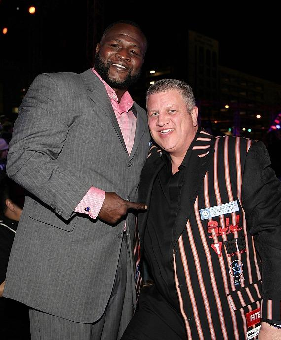 "Former World Champion Boxer James Toney with the D Las Vegas CEO Derek Stevens during ""Knockout Night at the D Las Vegas"""