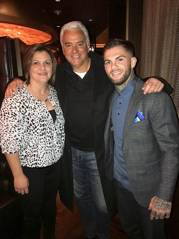 Seinfeld actor John O'Hurley with UFC Champ Cody Garbrandt and Jessica Enos at Andiamo Italian Steakhouse
