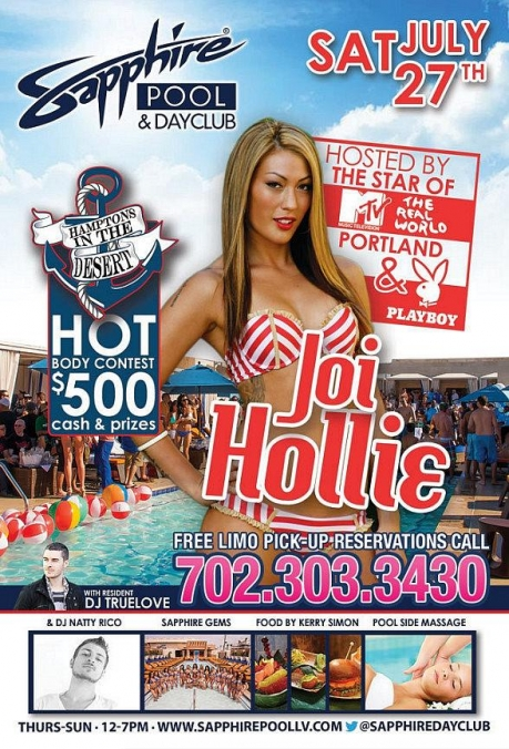 MTV Real World Portland's Joi Hollie to Host Sapphire Pool & Dayclub in Las Vegas Saturday, July 27