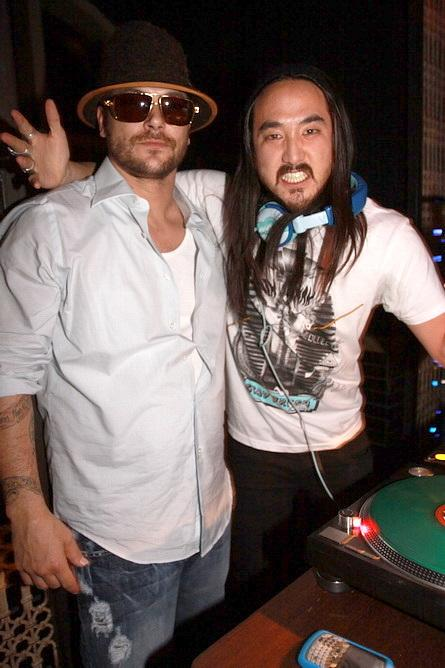 Kevin Federline and Steve Aoki at LAVO (Photo credit: Hew Burney)
