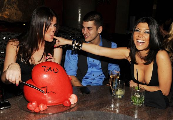 Khloe, Kourtney and Robert Kardashian at TAO
