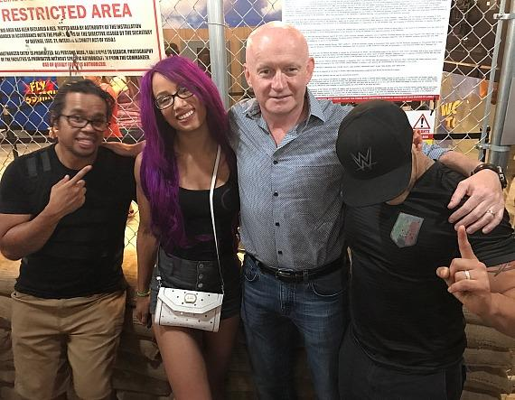 """Kid Mikaze and WWE Sasha Banks with Fremont Street President Patrick Hughes and Kalisto Unmasked at """"Fear The Walking Dead: Survival"""" attraction Las Vegas"""
