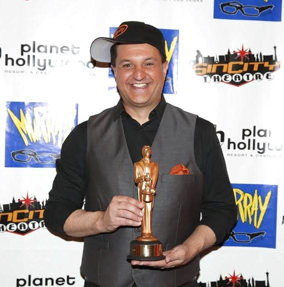 "Douglas 'Lefty' Leferovich on Red Carpet with ""World Champion Magician Award for Manipulation"""