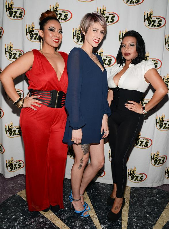 Singer Dev and KVEG HOT 97.5 DJs Lady G & Mia Amor host