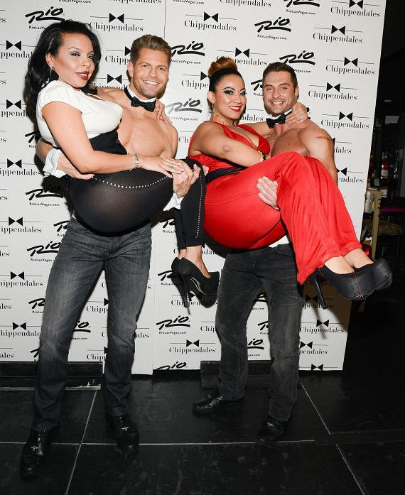 Lady G and Mia Amore with men of Chippendales
