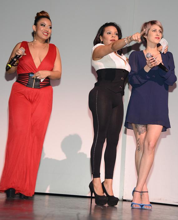 "Mia Amor, Lady G and Dev onstage at ""Single & Sexy Ladies Night Out"""