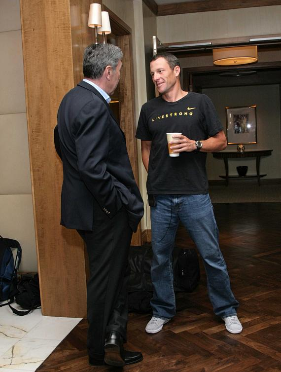 Lance and Eddie Merckx catching up inside the Presidential Suite at The Palazzo Resort Hotel Casino