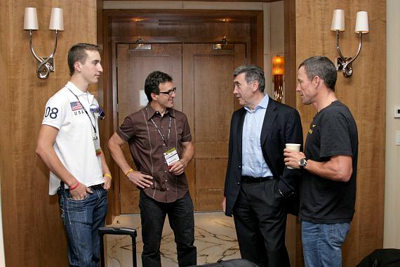 Lance Armstrong and friends chatting inside the Presidential Suite at The Palazzo Resort Hotel Casino